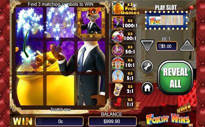 Foxin Wins Scratch Card Screenshot